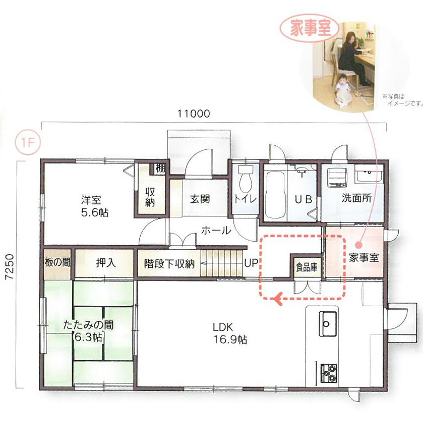 スモリの家の間取りプラン:家事室のある3LDK