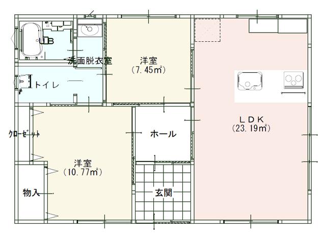 平屋住宅の間取りプラン:シンプルな2LDK間取り図